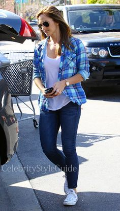 Seen on Celebrity Style Guide: 'Almost Human' actress Minka Kelly wore this light green and blue plaid out shopping at Bed, Bath & Beyond in Studio City, California on April 1....#CelebrityStyle  Get Her Top Here: http://rstyle.me/~1PiKA