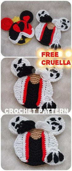 I have been thought that villains look bloodthirsty and cruel. But after making Maleficent and other villains I understood that they can bee really sweet! So I had to continue to make villains. Crochet Gifts, Crochet Toys, Free Crochet, Knit Crochet, Crochet Beanie, Easy Crochet Patterns, Knitting Patterns, Crochet Appliques, Doll Patterns
