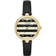 Kate Spade New York Women's Varick Stripe Leather-Strap Watch ($195) ❤ liked on Polyvore featuring jewelry, watches, black, kate spade, bezel jewelry, dial watches, bezel watches and quartz movement watches