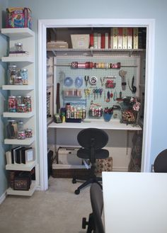 Craft Room :) Home office! Want to convert my front closet right now!