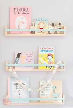 Pretty pastel shelves for a nursery...