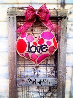Valentines Day Love heart burlap door hanger wreath shabby chic  on Etsy, $30.00