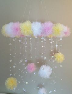 yellow and pink crystal baby mobile,pom pom mobile, mobile with letter, mobile with initial, princes Pom Pom Mobile, Hanging Mobile, Baby Mobile, Mobile Mobile, Small Cards, Baby Princess, Crochet Baby, Nursery Decor, Diy And Crafts