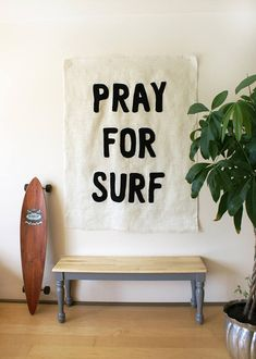 Dress up your surf shack with this handmade larger than life all natural burlap wall mural with sewn black lettering with the saying PRAY FOR SURF. Hang it up as is or frame it for a more contemporary look. Each wall art piece is handmade with love and made to order. Measures approx. 48 x 58  Shipped in the U.S. only due to its size. Shipped in a mailing tube and carefully rolled with paper protector :)
