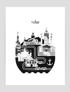 Cities illustrations by Kristian Lindén, via Behance