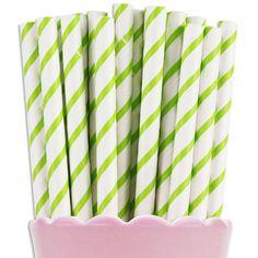 Lime Green Thin Stripe Paper Straws