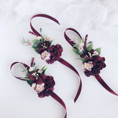 Wedding Flower Arrangements Excited to share this item from my shop: Burgundy Flower wrist corsage, Fall wrist corsage, Bridesmaids wrist corsage, Fall wedding Red Corsages, Corsage And Boutonniere, Flower Corsage, Wedding Corsages, Wedding Boutonniere, Fall Wedding Flowers, Wedding Flower Arrangements, Flower Bouquet Wedding, Bouquet Flowers