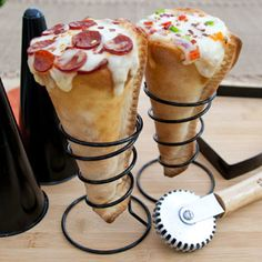 What could possibly be better than pizza. In. A. Cone.      Pizzacraft Grilled Pizza Cone Set