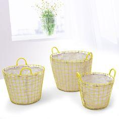 Set of 3 Oval Yellow Iron Baskets