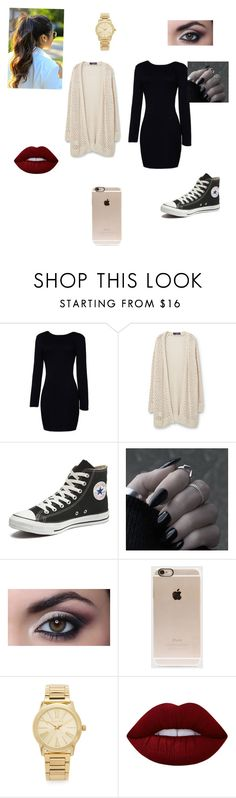 """Casual dress outfit"" by leggingsarelife ❤ liked on Polyvore featuring Violeta by Mango, Converse, Incase, Michael Kors and Lime Crime"