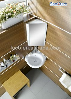 Lave mains d 39 angle complet pour wc avec meuble couleur gris anthracite - Meuble salle de bain coin ...