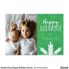 Handwritten Happy Holidays Green Photo Card