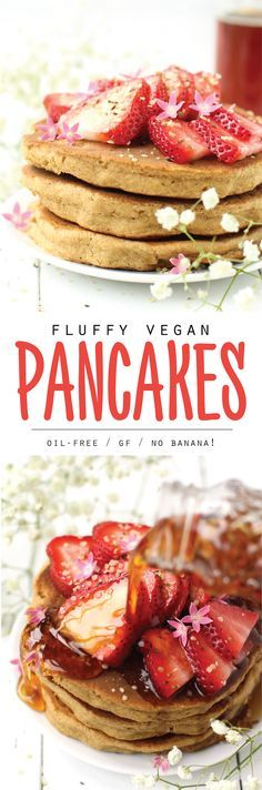 Finally fluffy vegan pancakes without bananas! With oats and applesauce as the base, this is a gluten-free, oil-free, easy healthy breakfast...