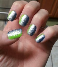 My nails for the 11-10-13 Seahawks game! GO HAWKS!!! Win