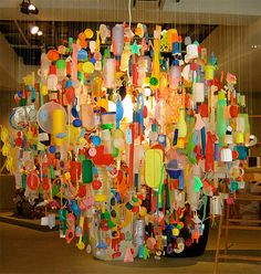 """Tide"" Chandelier, by Stuart Haygarth, made of plastic debris washed up on a stretch of Kent coastline"