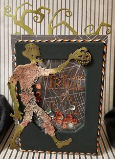 """I've been having alot of fun creating for"""" Fun Halloween"""". I made this card for my grandson Joseph, he just turned He will love this fun, spooky card. :) I used Seth Apter's embossing powders to create the funny Holtz die cut. Halloween Mini Albums, Cool Halloween Costumes, Halloween Cards, Spooky Halloween, Shaker Cards, Tim Holtz, Scary, Scrapbook, Bean Soup"""