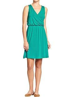 Womens Cross-Front Jersey Dresses-looks so cute and comfy! And the colored tanks I could put under this are endless!