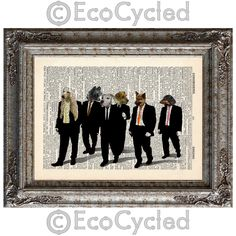 New to EcoCycled on Etsy: Reservoir Dogs with Dogs on Vintage Upcycled Dictionary Art Print Book Art Print Amazing Animalia Movie (10.00 USD)
