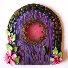 Fancy Purple dragonflies | Fancy Window Fairy Door Pixie Portal by Claybykim on Etsy