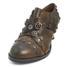 """lcon Steampunk Oxfords $125 lron Butterfly. Steam Age classics! Butterflies with gears and screws festoon these waffle-stitched, surprisingly lightweight Oxfords. They have synthetic-leather uppers, self-adjusting, elasticized, crisscross straps, 2"""" coppe"""