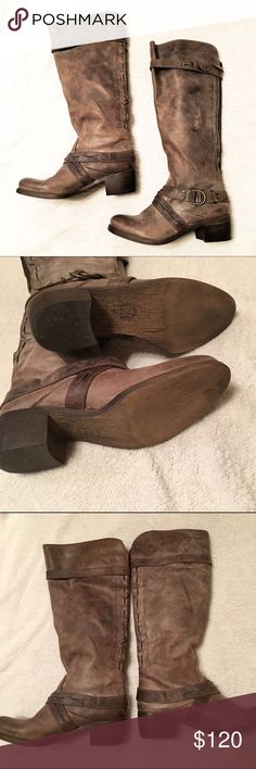 """Aldo Distressed Leather Boots Worn once! There are like new except for minimal wear on heels. Zips in back of calf with snap buckle that goes over the zipper. These are gorgeous and the leather is made to look distressed/well-loved. No longer fits me. Paid over $140 for these. 2"""" heel, size is 41 (American 10/11) but fits more like 9.5 (the size i wore in other shoes when I got these) Aldo Shoes Combat & Moto Boots"""