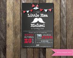 PRINTABLE  Chalkboard Mustache Birthday Invitation - 1st Birthday Invitation - Boys Girls Birthday Party 4x6 or 5x7 on Etsy, $13.00