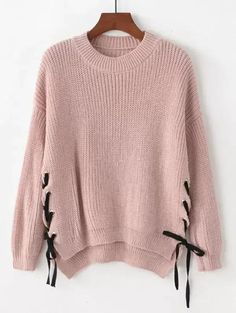 Shop Eyelet Lace Up Side Dip Hem Sweater online. SHEIN offers Eyelet Lace Up Side Dip Hem Sweater & more to fit your fashionable needs. Cropped Sweater, Jumper, Pink Sweater, Sweater Dresses, Brown Sweater, Pullover Mode, Diy Vetement, Eyelet Lace, Pink Lace