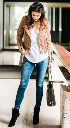 42a8521c873d 40+ Amazing Looks to Get You Into The Spirit Of Spring. Brown Suede  JacketSuede ...