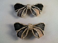 Antique Victorian Cut Steel Velvet Bow Buckles Made in France