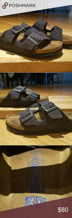 Birkenstock Arizona Purple Suede soft footbed sz 8 Excellent condition, hardly used Birkenstock Arizona suede puple. No rips, tears, stuffing or odors. On the sandals. Softfootbed! Very cushy. Sz 38 UK or 7.5 to 8 US Birkenstock Shoes Sandals