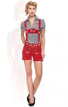 Trachten Lederhose Jacky red H-Träger Ledershort