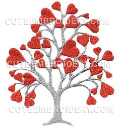 Valentine Tree Free on from Cute Embroidery Designs Cute Embroidery, Learn Embroidery, Crewel Embroidery, Vintage Embroidery, Beginner Embroidery, Wedding Embroidery, Embroidery Ideas, Machine Embroidery Projects, Free Machine Embroidery Designs