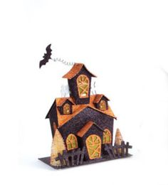 11.25 LED Lighted Glitter Drenched Halloween Haunted House Table Top Decoration 31370687 | ChristmasCentral