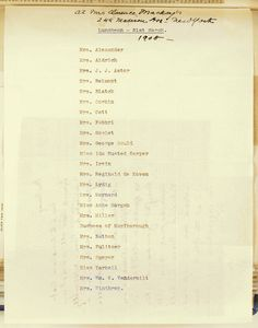 Consuelo Vanderbilt | This guest list for a suffragette luncheon 31 Mar 1908 hosted by Mrs. Clarence Mackay, 244 Madison Ave., NY included the Duchess of Marlborough and her mother Mrs. Alva Belmont other social leaders.