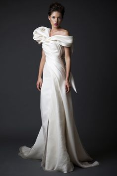 Sculptural Krikor Jabotian Wedding Dress | Swooned