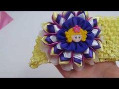 Diy, Flores grandes kanzashi para diademas ,D.I.Y. Kanzashi Flower Headband Tutorial - YouTube