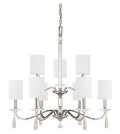 Capital Lighting Alisa 9 Light Chandelier in Polished Nickel with Crystals Chandelier Bedroom, Metal Chandelier, Chandelier Shades, Chandelier Lighting, Hudson Valley, Candelabra Bulbs, Porch Lighting, Fabric Shades, Polished Nickel