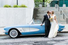 Wedding portrait with a 1961 Corvette   Photo by Keira Lemonis Photography; Vintage Car via Graham St. George