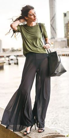Black Bell Bottom Flowy Pants Outfit Idea