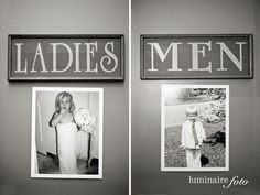 pics of bride and groom from childhood on bathroom doors - give the guests a chuckle.