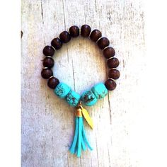 Boho wooden bead and turquoise bracelet with by ParaleeLane