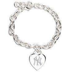 New York Yankees Ladies Silver Heart Charm Bracelet