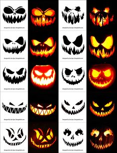 Today we are sharing Free Printable Halloween Pumpkin Carving Stencils, Patterns, Designs, Faces & Ideas Halloween Pumpkin Carving Stencils, Scary Halloween Pumpkins, Halloween Pumpkin Designs, Pumpkin Carving Templates, Halloween Diy, Carving Pumpkins, Halloween Printable, Halloween Labels, Halloween Design