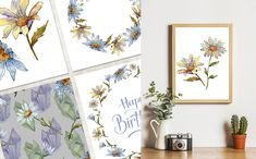 Cool White Chamomile PNG Watercolor Set Illustration #Illustration #Chamomile #White #Cool