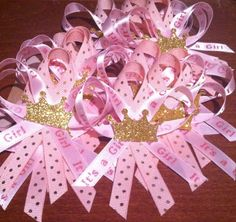 SALE Pink and Gold Princess guest pins 24 ct.