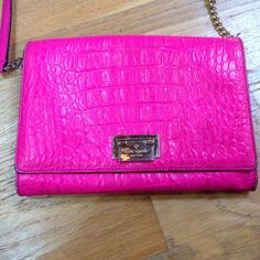 Kate Spade hot pink cross body *as is The Kate Spade gold hardware plate is scratched and there are signs of obvious wear on the front (as seen in pictures). Inside of bag is spotless! Please know the extent of the condition before you buy! :) kate spade Bags Crossbody Bags