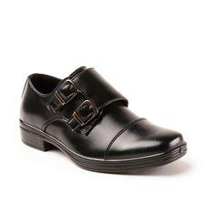 Deer Stags Wit Boys' Cap Toe Monk Strap Dress Shoes, Size: medium (13.5), Black