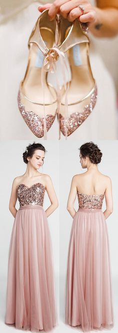 Strapless Sweetheart Long Rose Gold Sequined Bridesmaid Dress with Tulle Skirt