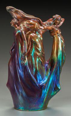 Zsolnay Lustre Ceramic Figural Water Pitcher Circa 1902-1904