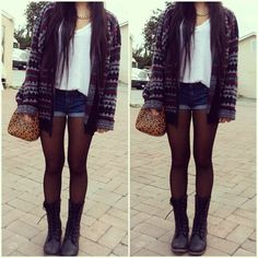 I love the tights and shorts look